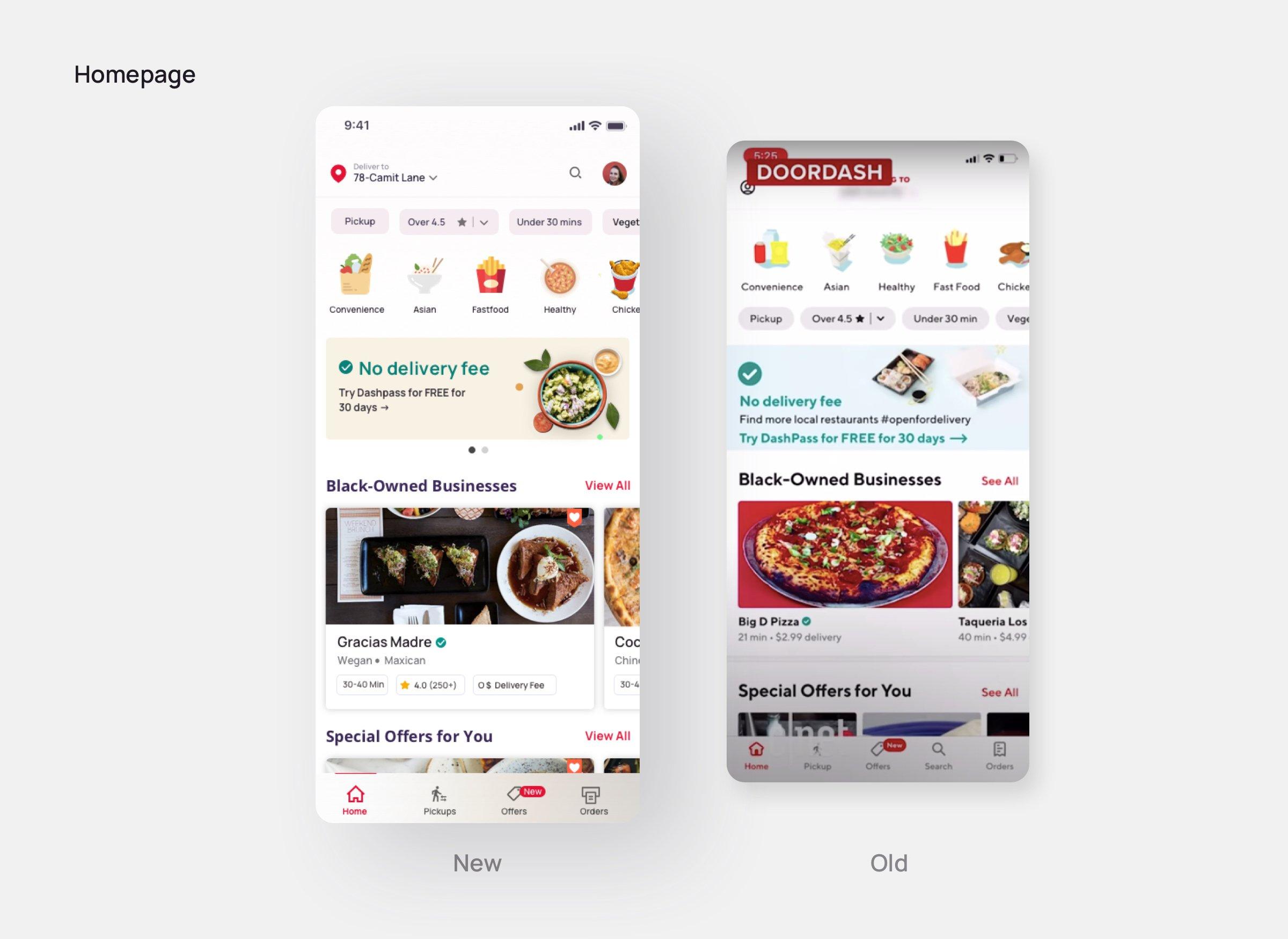 Homepage-Doordash redesign