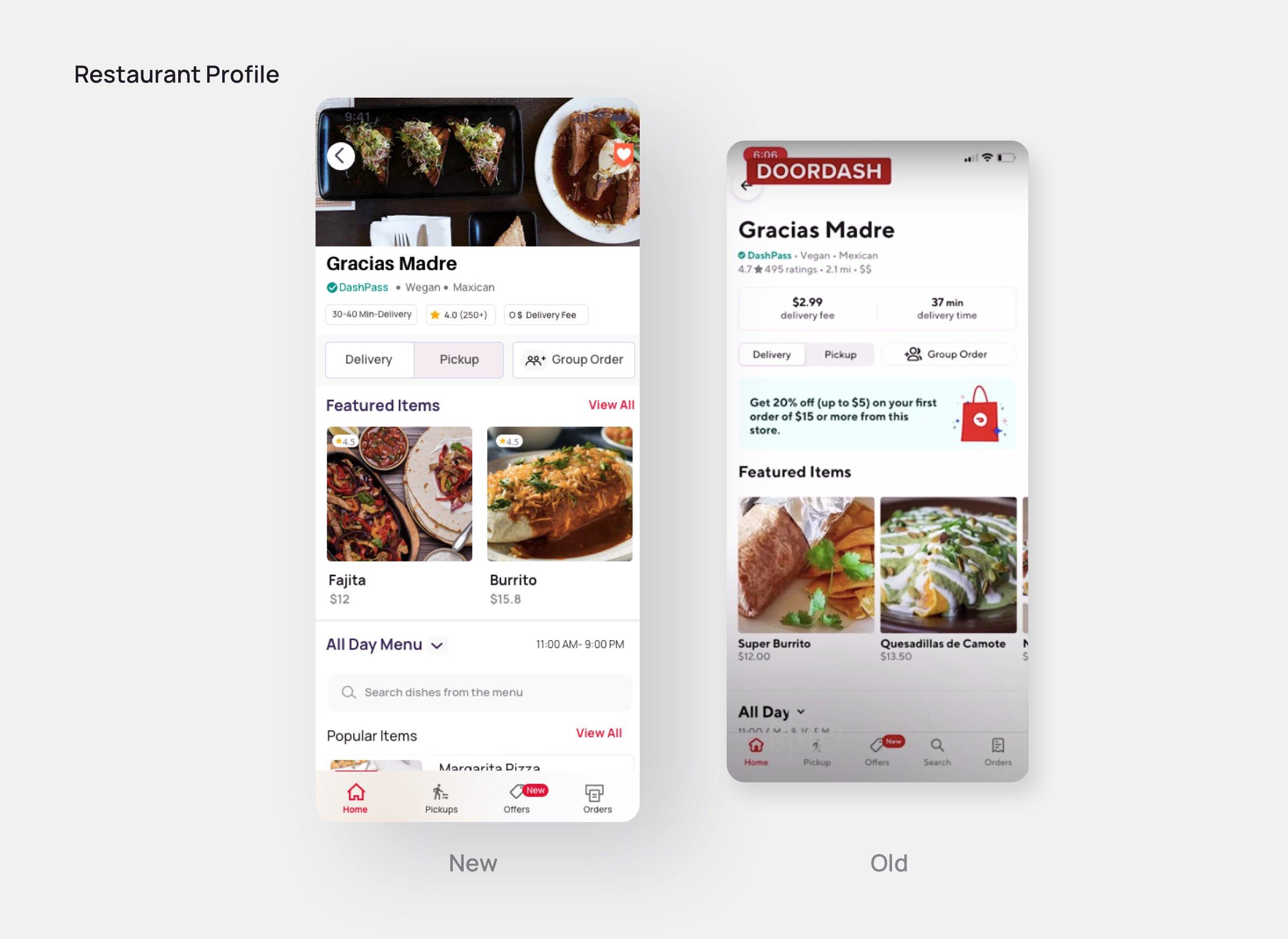 Restaurant Profile-Doordash redesign